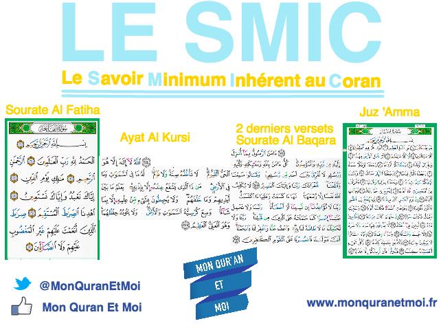 Le SMIC : Savoir Minimum Inhérent au Coran - Mon Quran et moi